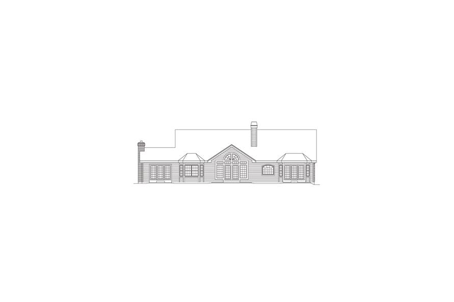 138-1080: Home Plan Rear Elevation