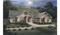 Front elevation of Ranch home (ThePlanCollection: House Plan #138-1080)