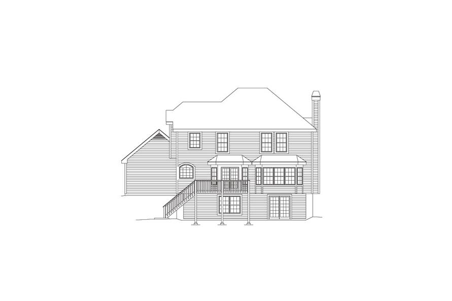 138-1081: Home Plan Rear Elevation