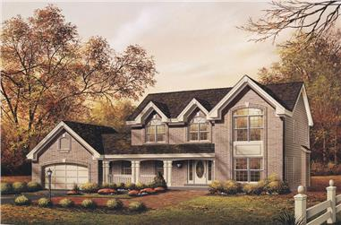 4-Bedroom, 2521 Sq Ft Colonial Home Plan - 138-1082 - Main Exterior