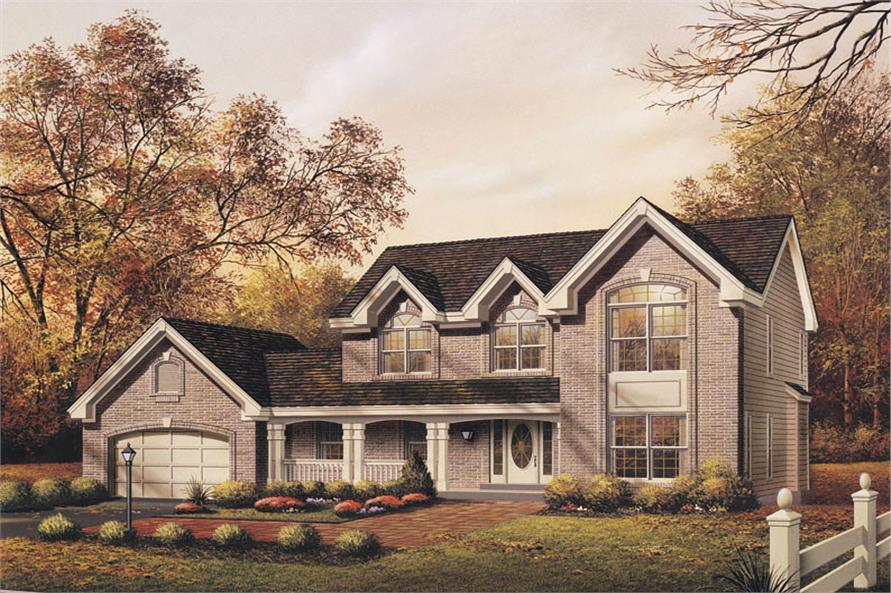Front elevation of Colonial home (ThePlanCollection: House Plan #138-1082)