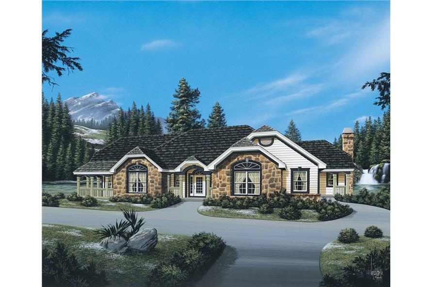 Front elevation of Ranch home (ThePlanCollection: House Plan #138-1086)