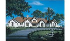 Front elevation of Luxury home (ThePlanCollection: House Plan #138-1088)