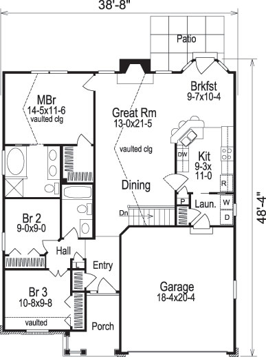 ranch house plan 138 1090 3 bedrm 1268 sq ft home theplancollection. Black Bedroom Furniture Sets. Home Design Ideas