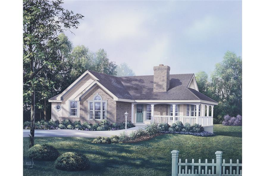 Front elevation of Traditional home (ThePlanCollection: House Plan #138-1091)