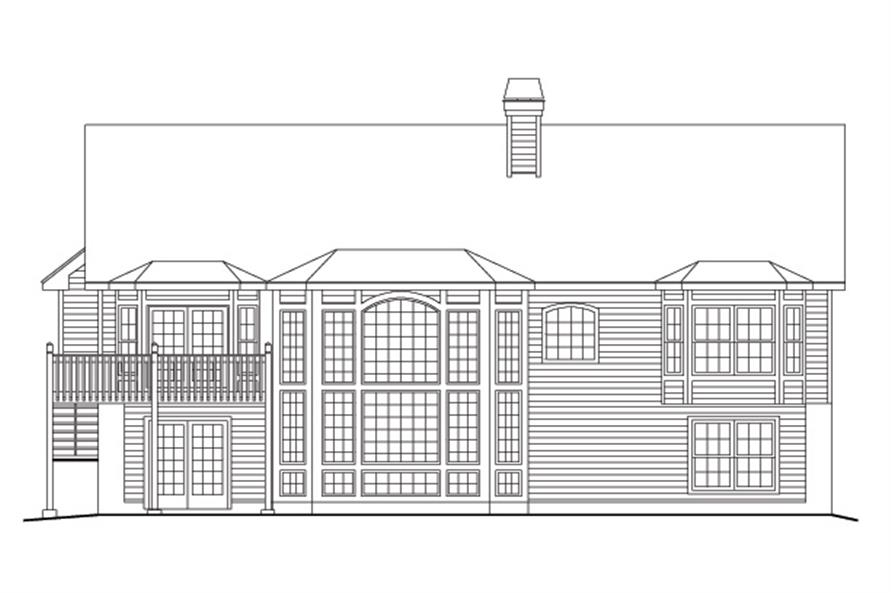 138-1096: Home Plan Rear Elevation