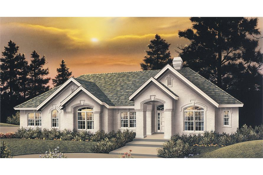 Front elevation of Ranch home (ThePlanCollection: House Plan #138-1097)