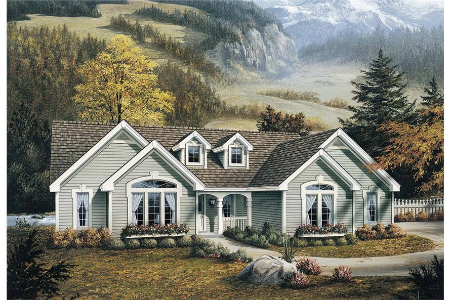 Front elevation of Ranch home (ThePlanCollection: House Plan #138-1098)