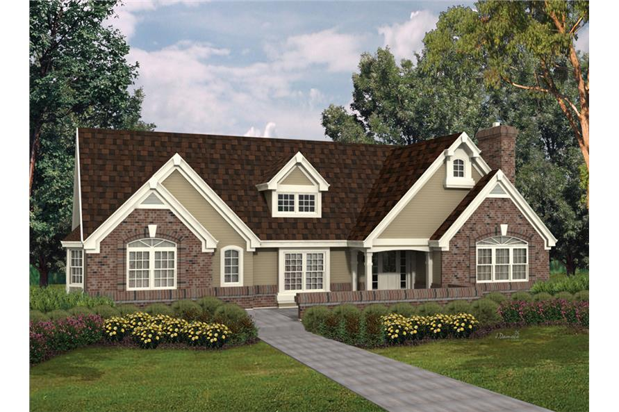 Front elevation of Ranch home (ThePlanCollection: House Plan #138-1099)
