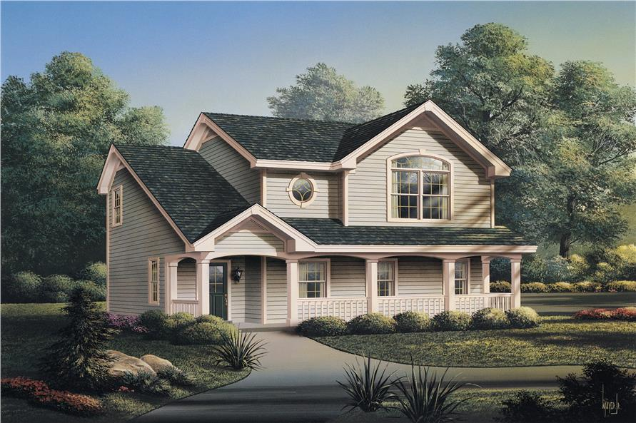 Front elevation of Garage w/Apartments home (ThePlanCollection: House Plan #138-1100)