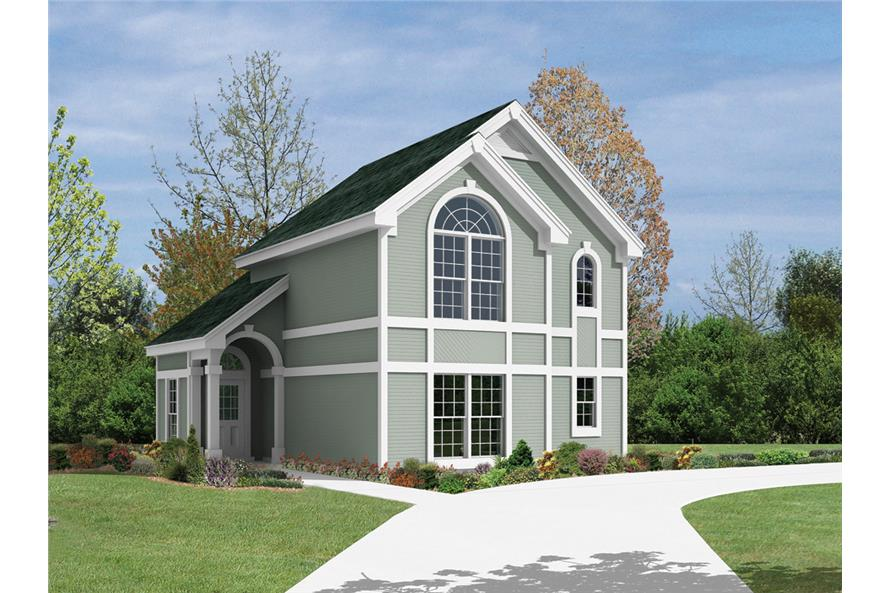 Front elevation of Garage w/Apartments home (ThePlanCollection: House Plan #138-1103)