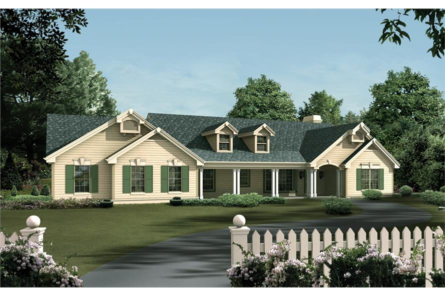 Front elevation of Ranch home (ThePlanCollection: House Plan #138-1107)