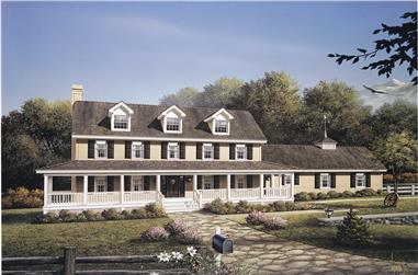 4-Bedroom, 2727 Sq Ft Country Home Plan - 138-1108 - Main Exterior