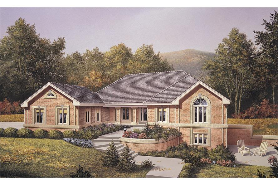 Front elevation of Ranch home (ThePlanCollection: House Plan #138-1109)