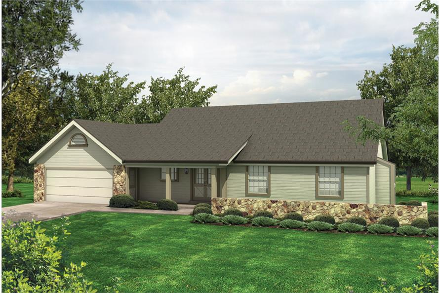 Front elevation of Ranch home (ThePlanCollection: House Plan #138-1110)