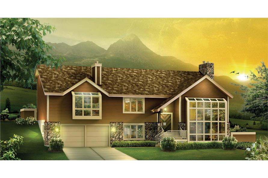 Front elevation of Ranch home (ThePlanCollection: House Plan #138-1112)