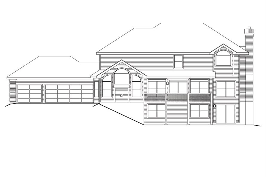 138-1113: Home Plan Rear Elevation