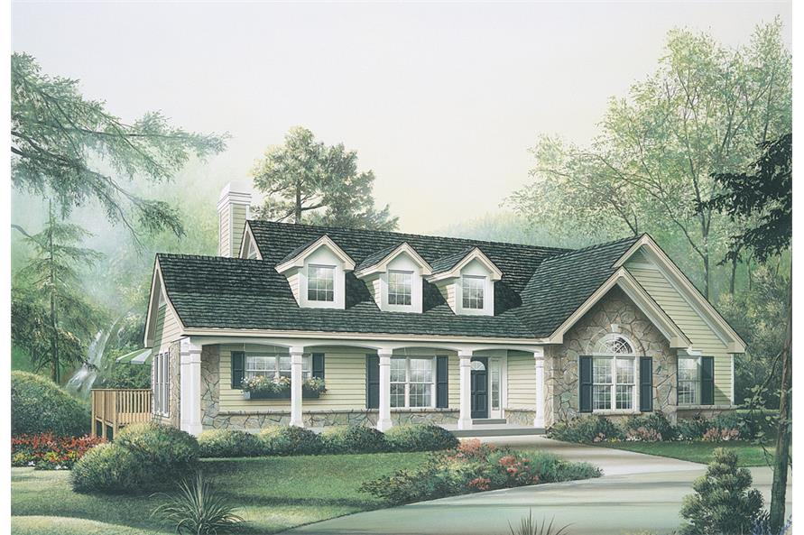 Front elevation of Ranch home (ThePlanCollection: House Plan #138-1114)