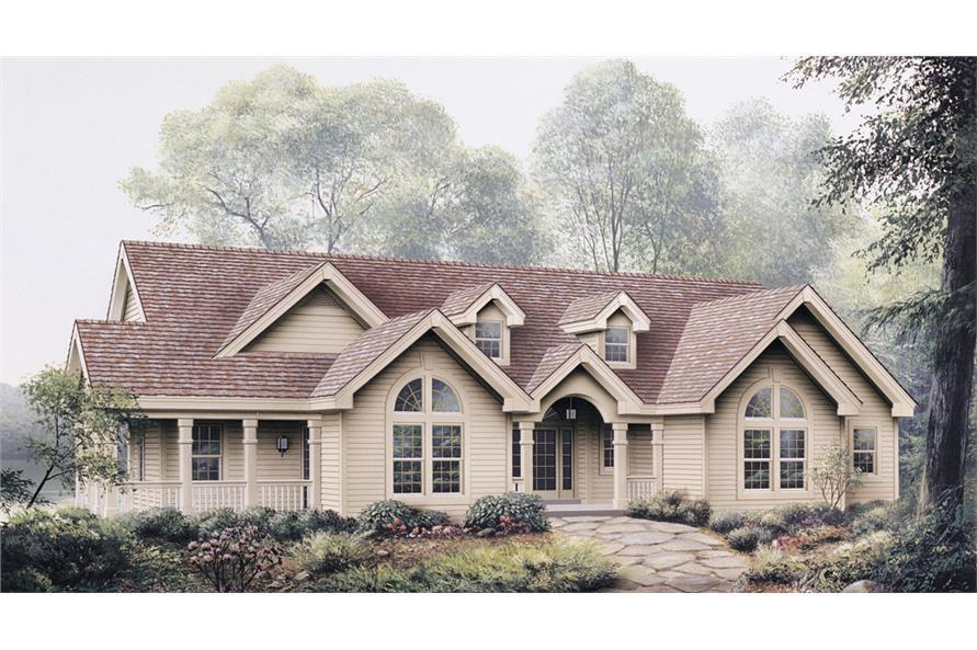 Front elevation of Ranch home (ThePlanCollection: House Plan #138-1117)
