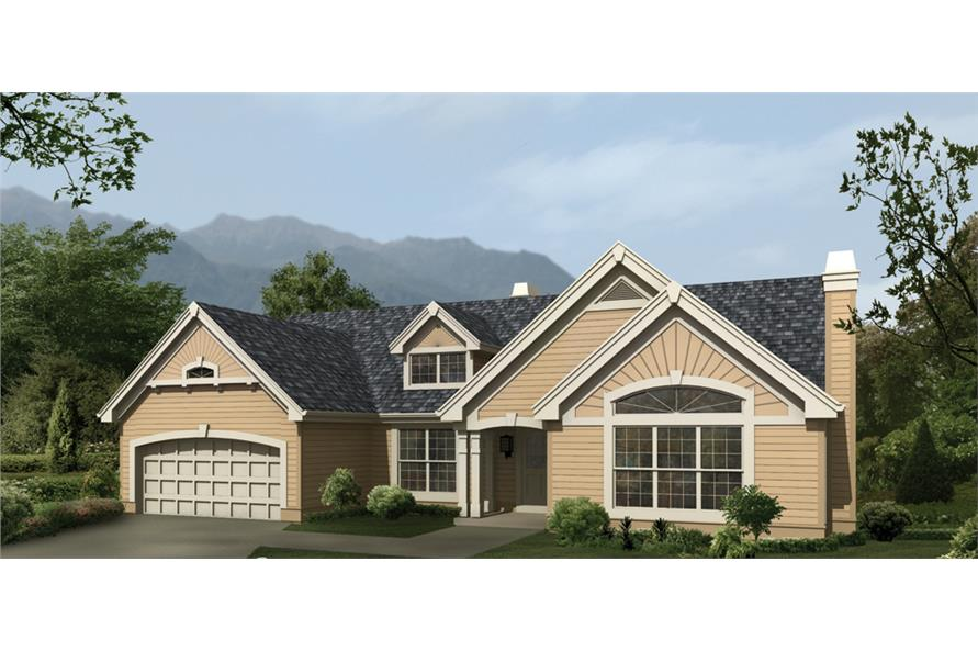 Front elevation of Ranch home (ThePlanCollection: House Plan #138-1118)