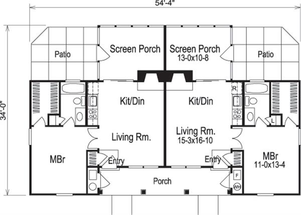 Multi Unit House Plan 138 1121 1 Bedrm 1076 Sq Ft Per