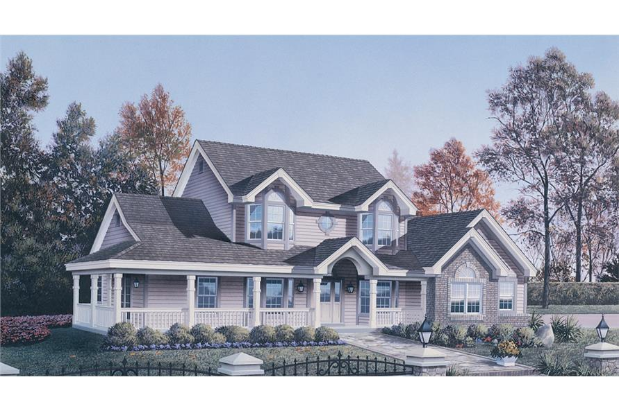 Front elevation of Traditional home (ThePlanCollection: House Plan #138-1128)