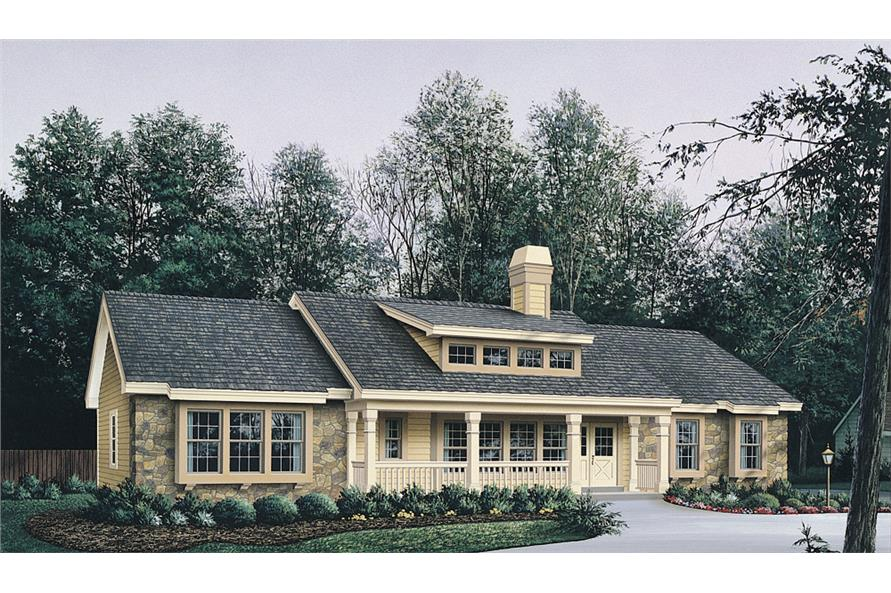 Front elevation of Ranch home (ThePlanCollection: House Plan #138-1129)