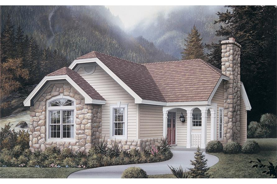 Front elevation of Cottage home (ThePlanCollection: House Plan #138-1131)