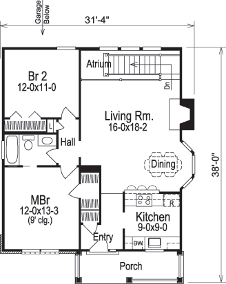 Cottage Floor Plan 2 Bedrms 1 Baths 1207 Sq Ft 138