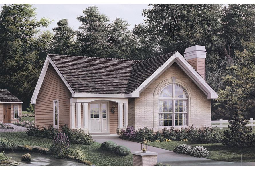 Front elevation of Cottage home (ThePlanCollection: House Plan #138-1135)
