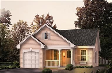 Front elevation of Transitional home (ThePlanCollection: House Plan #138-1137)