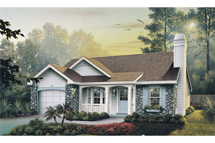 Front elevation of Ranch home (ThePlanCollection: House Plan #138-1138)