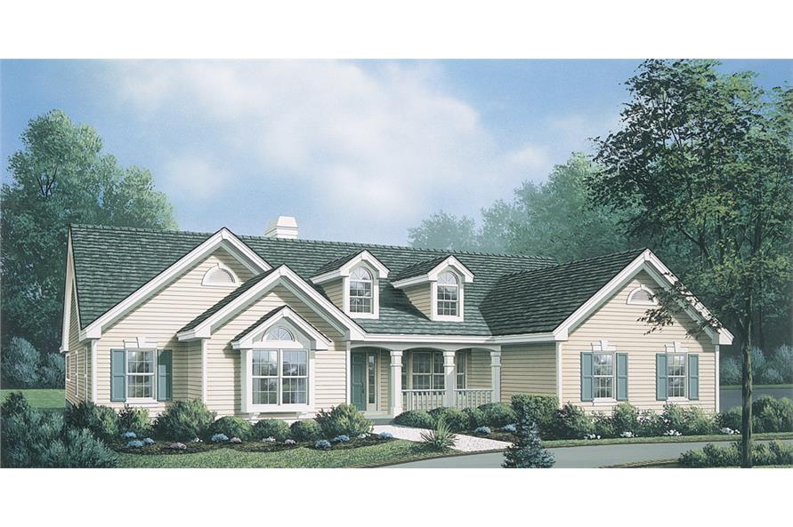 Front elevation of Ranch home (ThePlanCollection: House Plan #138-1141)