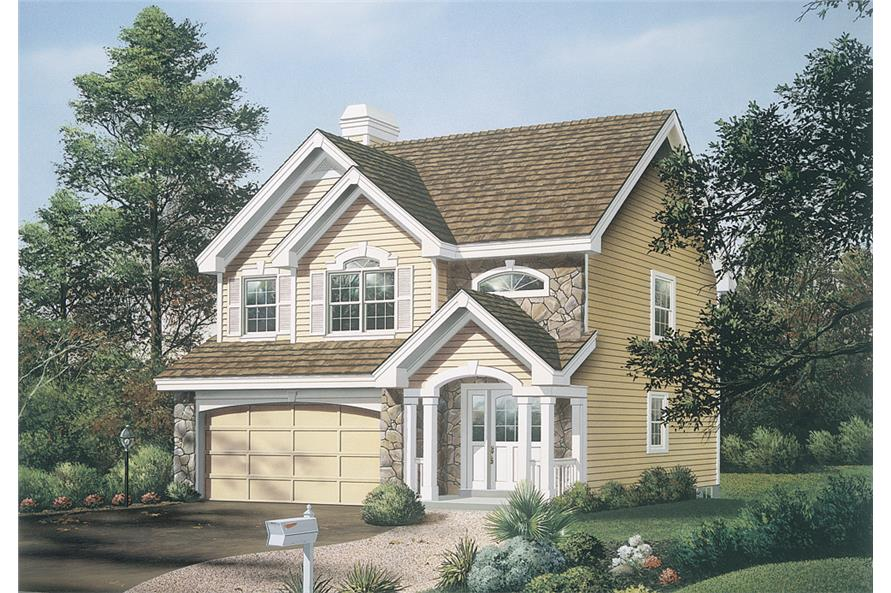 Front elevation of Traditional home (ThePlanCollection: House Plan #138-1142)