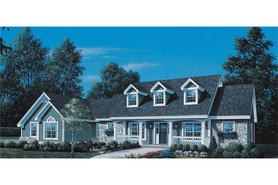 Front elevation of Ranch home (ThePlanCollection: House Plan #138-1146)