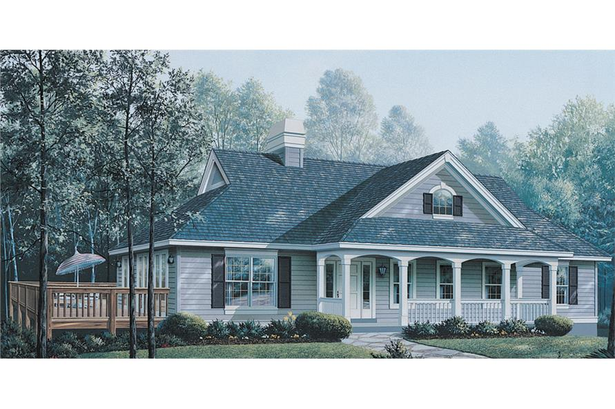 Front elevation of Ranch home (ThePlanCollection: House Plan #138-1147)