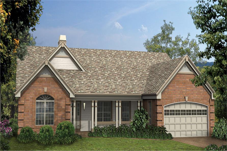 Front elevation of Ranch home (ThePlanCollection: House Plan #138-1148)