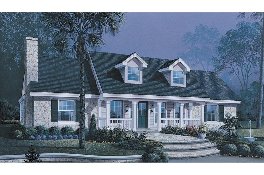 Front elevation of Ranch home (ThePlanCollection: House Plan #138-1149)