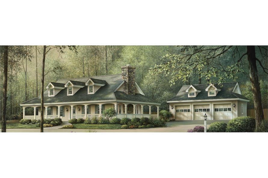 Front elevation of Ranch home (ThePlanCollection: House Plan #138-1155)