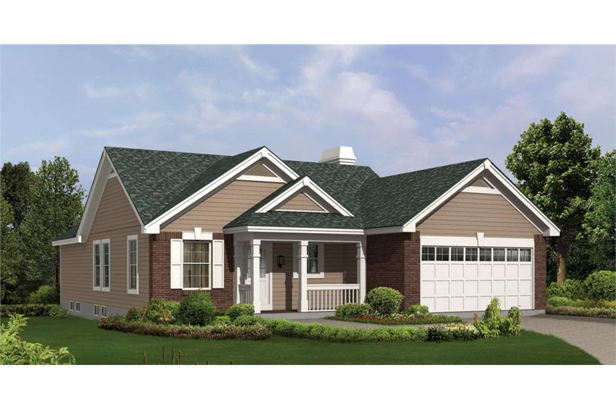 Front elevation of Country home (ThePlanCollection: House Plan #138-1156)
