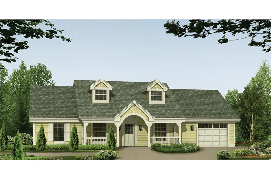 Front elevation of Cottage home (ThePlanCollection: House Plan #138-1157)