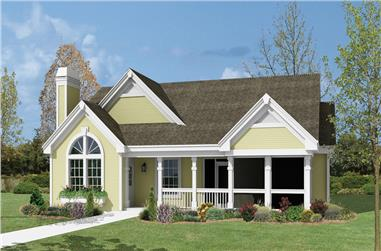 2-Bedroom, 1072 Sq Ft Country Home Plan - 138-1159 - Main Exterior