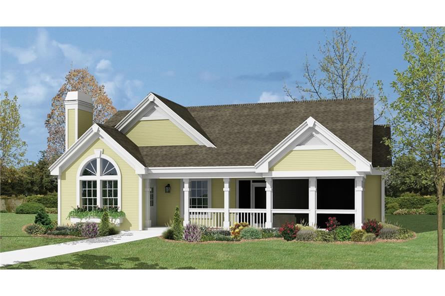 Front elevation of Country home (ThePlanCollection: House Plan #138-1159)