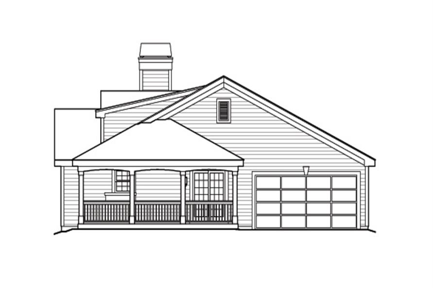 Home Plan Right Elevation of this 2-Bedroom,1316 Sq Ft Plan -138-1164