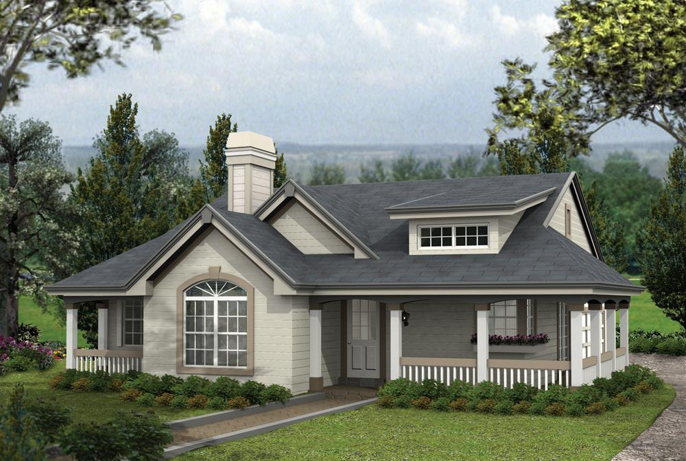 Front elevation of Cottage home (ThePlanCollection: House Plan #138-1164)