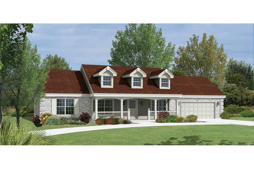 Front elevation of Ranch home (ThePlanCollection: House Plan #138-1165)