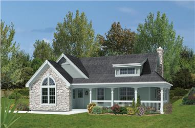 Front elevation of Ranch home (ThePlanCollection: House Plan #138-1166)