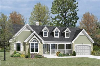 3-Bedroom, 1532 Sq Ft Country Home Plan - 138-1167 - Main Exterior