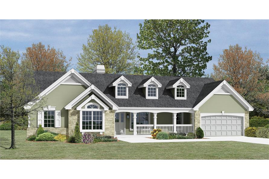 Front elevation of Country home (ThePlanCollection: House Plan #138-1167)