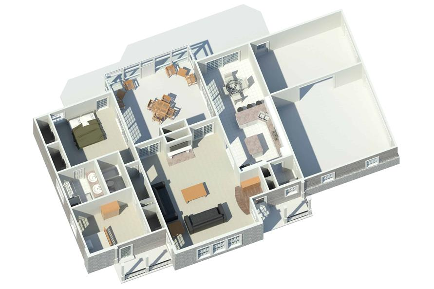 Home Plan Rendering of this 2-Bedroom,1568 Sq Ft Plan -1568